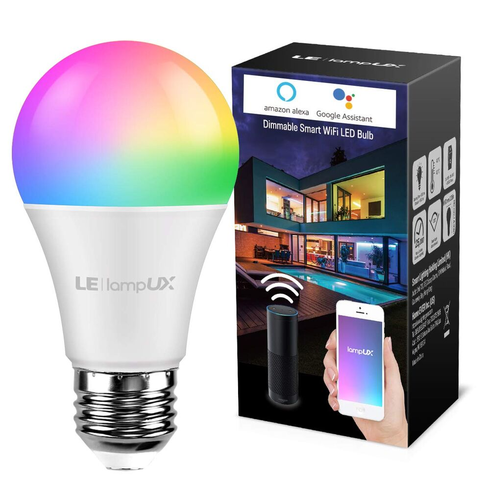 60W Wifi Smart LED light Bulb 9W A19 850LM RGBW Dimmable for Alexa//Google Home