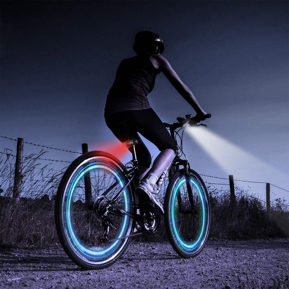 LED BICYCLE CYCLE LIGHTS DELUXE SET FRONT /& REAR BIKE SEVEN MODES FLASH /& STATIC
