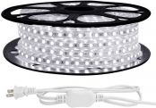 LE 82ft LED Strip Lights, 120 volt, 189W 1500 SMD 5050 LEDs, Waterproof, Daylight White, ETL Listed, Flexible Indoor Outdoor LED Rope Light for Kitchen, Ceiling, Patio, Under Cabinet Lighting and More