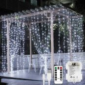 LE Fairy Curtain Lights USB or Battery Powered, 9.8 x 9.8 ft Indoor Outdoor String Lights with Remote, Cool White, 300 LED Decorative Christmas Twinkle Light for Bedroom, Patio, Party Wedding Backdrop