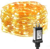 33ft Fairy Lights, Waterproof, 100 LED, Plug in, Warm White