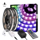 32 ft Waterproof RGB LE LED Strip Lights Kit, 5050 SMD LED Strips, Power Adapter Included