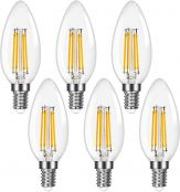 Lepro E12 Chandelier Light Bulbs, Filament LED Candle Bulbs, Dimmable 5W 500LM, 60W Equivalent, 2700K Warm White, Ceiling Fan Bulb Candelabra Bulbs, Pack of 6