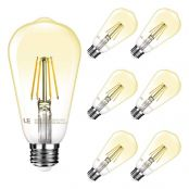 LE ST64 E26 Vintage Edison LED Bulbs, Dimmable, 4W 350 lm, 40W Incandescent Equivalent, 2500K Warm White, 300 Degree Beam Wide Angle, for Restaurant, Home, Reading Room and More, Pack of 6