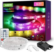 MagicColor LED Strip Lights, Lepro 50ft Music Sync Waterproof RGBIC Light Strip with Remote, 5050 RGB LED Lights for Bedroom, Home Decoration, TV, Gaming Room, Party, Balcony and Camping