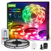Magiccolor LED Strip Lights, Lepro 16.4ft Music Sync Waterproof RGBIC Light Strip with Remote, 5050 RGB LED Lights for Bedroom, Home Decoration, TV, Gaming Room, Party, Balcony and Camping