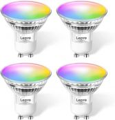 Lepro GU10 Smart Light Bulbs, RGB Color Changing LED Bulb, Compatible with Alexa & Google Assistant, Dimmable with App, 50W Equivalent Track Light Bulb, No Hub Required, 2.4G WiFi Only, Pack of 4