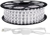 LE 65ft LED Strip Lights, 120 volt, 150W 1200 SMD 5050 LEDs, Waterproof, Daylight White, ETL Listed, Flexible Indoor Outdoor LED Rope Light for Kitchen, Ceiling, Patio, Under Cabinet Lighting and More