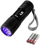 LE Small UV Flashlight, Portable Black Light with 9 LEDs, 395nm, Ultraviolet Light Detector for Pet Urine Stain, AAA Batteries Included