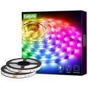 32.8ft Music Sync RGB LED Strip Lights for Bedroom, 5050 SMD LED Color Changing LED Tape Light with Remote Controller and Fixing Clips for Home Decoration, Desk, Gaming Room, Party