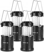 Lepro Portable LED Camping Lantern Outdoor 30 LEDs Flashlights IPX4 Water Resistant Lamp Battery Powered Light for Camping, Hiking, Survival kits for Emergency, Power Failure, Hurricane(4 Packs)