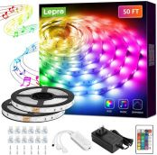 Lepro LED Strip Lights, 50Ft Music Sync RGB LED Strips, 5050 SMD LED Color Changing Strip Light with 44 Keys Remote Controller and 12V Power Supply, LED Lights for Bedroom, Home, TV Backlight