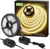 Lighting EVER 32.8ft LED Strip Light, Warm White 6000K, Plug and Play, Bright 1800lm LED Tape Light for Kitchen, Living Room, Stairs and More, 12V Power Supply and Dimmer Switch Included