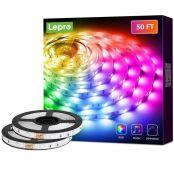 Lepro LED Strip Lights, 50Ft Music Sync RGB LED Strips, 5050 SMD LED Color Changing Strip Light with 44 Keys Remote Controller and 12V Power Supply, LED Lights for Bedroom, Home, TV Backlight