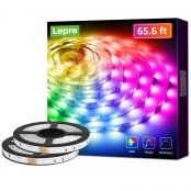 Lepro LED Strip Lights, 65.6ft Music Sync RGB LED Strips, 5050 SMD LED Color Changing Strip Light with 44 Keys Remote Controller and 12V Power Supply, LED Lights for Bedroom, Home, TV Backlight