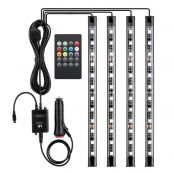LE 4pcs 48 LEDs Car Strip Lights, RGB, Music Activated, Automobile Interior Decoration Light Bars, DC 12V Sound Sensor Function, Wireless Remote Control, Car Charger Included