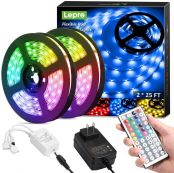 50ft (2*25ft) RGB LED Strip Lights with Remote Controller, Ultra-Long 5050 LED Light Strips, Color Changing LED Tape Light with 12V ETL Listed Adapter for Living Room, Bedroom, Dining Room, Kitchen