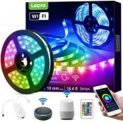 Lepro Music Smart LED Strip Lights Works with Alexa Google Home, 16.4ft Music Sync Color Changing, 5050 LED Tape Light, 16 Million Colors LED Lights for Bedroom, Home, Kitchen, TV, Party and Festival