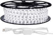 LE 49ft LED Strip Lights, 120 Volt, 70W 900 SMD 3528 LEDs, Waterproof, Daylight White, ETL Listed, Flexible Indoor Outdoor LED Rope Light for Kitchen, Ceiling, Patio, Under Cabinet Lighting and More
