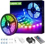 16.4ft RGB LED Lights Strip with 44 Keys IR Remote and 12V Power Supply, Flexible Color Changing 5050 300 LEDs Tape Lights for Bedroom, Home, Kitchen