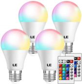 LE RGB Color Changing Light Bulbs with Remote, Dimmable LED Light Bulb, E26 Screw Base, 40 Watt Equivalent Soft Warm White, 16 Color Choices for Home Decor, Bedroom, Stage, Party and More, Pack of 4