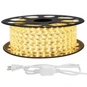 LE 82ft LED Strip Lights, 120 Volt, 120W 1500 SMD 3528 LEDs, Waterproof, Flexible, Warm White, ETL Listed, Indoor Outdoor LED Rope Light for Kitchen, Ceiling, Patio, Under Cabinet Lighting and More