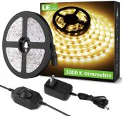 LE 16.4ft Dimmable LED Strip Light Kit with 12V Power Supply, 300 LEDs SMD 2835, Non-Waterproof Tape, Flexible Rope Light for Home, Kitchen, Under Cabinet, Bedroom and More, Warm White