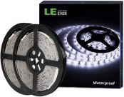 LE 12V LED Strip Light, Flexible, Waterproof, SMD 2835, 16.4ft Tape Light for Under Cabinet, Home, Kitchen and More, Daylight White, Pack of 2