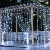 LED Curtain Lights, 9.8x9.8ft, 306 LED, 8 Modes, Plug in Twinkle lights, Cool White