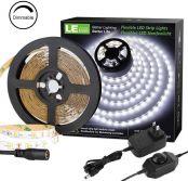 LE LED Strip Light Kit, 16.4ft Rope Light, Flexible, 300 LEDs SMD 2835, Dimmable LED Tape, for Home, Kitchen, Under Cabinet, Bedroom, Daylight White