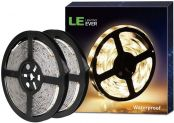 LE 12V LED Strip Light, Flexible, Waterproof, SMD 2835, 300 LEDS, 16.4ft Tape Light for Home, Kitchen, Christmas and More, Warm White, Pack of 2