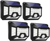 LE Solar Lights, Motion Sensor Outdoor Light, 270° Wide Angle, Four-Sided Lighting, Waterproof, Easy to Install, Wireless Security Lights for Front Door, Garage, Yard and More (Pack of 4)