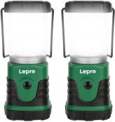 Lepro LED Camping Lantern, Mini Camping Lantern, 350LM, 4 Light Modes, 3 AA Battery Powered Lantern Flashlight for Home, Garden, Hiking, Camping, Emergencies, Hurricanes, Outages, (2 Packs)