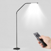 LE Dimmable LED Floor Lamps, Gooseneck Adjustable Reading Lamp, 6W, 6 Lighting Modes, Memory Function, Remote Control, Touch Control Standing Lamp for Living Room, Office, Hotel and More, Black