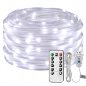 LE USB Powered LED Rope Light with Remote, Dimmable, Daylight, Waterproof 33ft 100 LED Indoor Outdoor Light Rope and String for Deck, Patio, Bedroom, Camping, Landscape Lighting (Adapter not Included)