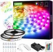 Lepro LED Strip Lights, Music Sync RGB LED Lights for Bedroom, 32.8ft 5050 SMD LED Color Changing Strip Light with Remote Controller and Fixing Clips for Home Decoration, Desk, Gaming Room, Party