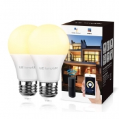 LampUX A19 E26 Warm White App Control Dimmable LED Bulbs, WiFi Smart Light Bulbs Compatible with Alexa Google Home IFTTT, No Hub Required, 2 Pack