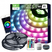 32 ft Smart RGB LED Strip Lights, Waterproof, Works wiith Alexa Google Home, WiFi Smart RGB Color Changing, SMD 5050 LED Rope Light, App&Remote Controlled, Tape Light for Bedroom, Home and Kitchen