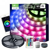 16ft Waterproof Smart RGB LED Strip Lights, WiFi, Works with Alexa Google Home, SMD 5050 LED Tape Light