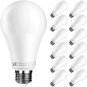 LE A21 LED Light Bulb, Replacement for 100W Incandescent Bulb, 15 Watt 1500 Lumens, High Output, 5000K Daylight White Natural Light, E26 Medium Base, Frosted, Big Type A Bulbs, Pack of 12, Dimmable