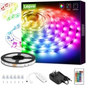 Lepro LED Strip Lights, Music Sync RGB LED Lights for Bedroom, 16.4ft 5050 SMD LED Color Changing Strip Light with Remote Controller and Fixing Clips for Home Decoration, Desk, Gaming Room, Party