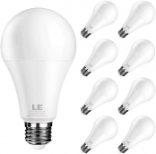 LE LED Light Bulb, Replacement for 100W Incandescent Bulb, 14 Watt 1400 Lumens, High Output, 5000K Daylight White Natural Light, E26 Medium Base, Froasted, Big Type A Bulb, Pack of 8