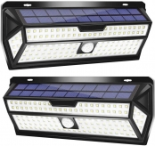 LE Solar Lights Outdoor, Motion Sensor Lights, 132 LED 270° Wide Angle, Waterproof Wireless Security Lights for Front Door, Garage, Yard and More (Pack of 2)