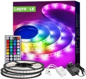 Lepro LED Strip Lights, 32.8ft RGB LED Lights Strip Outdoor RGB Color Changing Light Strip Waterproof with Remote, LED Strip Lights for Bedroom, Kitchen, Home and TV, Bright 5050 LED (2X16.4FT)