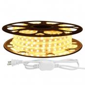 LE 32.8ft LED Strip Lights, 120 Volt, 80W 600 SMD 5050 LEDs, Waterproof, Flexible, Warm White, ETL Listed, Plug in, Indoor Outdoor LED Rope Lights for Kitchen, Ceiling, Patio, Under Cabinet Lighting
