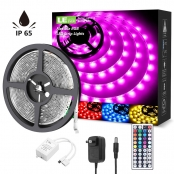 16.4ft Waterproof RGB LED Strip Lights, 5050 LED Tape Light with Remote Controller