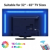 "LE LED Strip Lights, 6.56 USB TV Backlights with RF Remote, Dimmable RGB Mood Lights, SMD 5050 Bias Lighting for 32-65"" TVs, Computer, Mirror, Gaming Monitor and More (4 x 50cm) [Energy Class A+]"