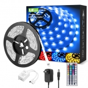 16ft RGB LE LED Strip Lights Kit, 5050 SMD LED Tape Lights, Power Adapter Included