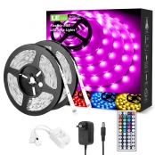 32 ft RGB LE LED Strip Lights Kit, 5050 SMD LED Strips, Power Adapter Included