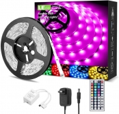 16.4ft RGB LED Strip Lights with Remote and Power Adapter, Color Changing LED Tape Lights for Bedroom, Living Room, Kitchen and More